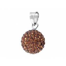 6mm-es barna színű, ezüst gömb alakú medál Swarovski kristályokkal.