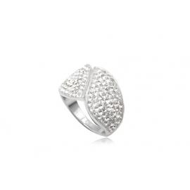 Osztott mintájú gyűrű, Swarovski kristályokkal kirakva.
