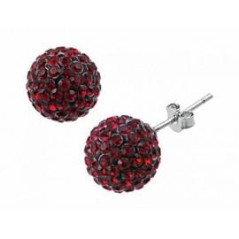 6mm-es gránátkő piros színű, gömb alakú fülbevaló Swarovski kristályokkal.