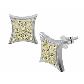 Ezüst fülbevaló halvány sárga Swarovski kristállyal. ( a Swarovski kristályok elhelyezése eltérő lehet)