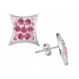 Ezüst fülbevaló rózsaszín Swarovski kristállyal. ( a Swarovski kristályok elhelyezése eltérő lehet)