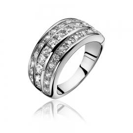 Zinzi ezüst gyűrű, középen négyzet alakú fehér kövekkel