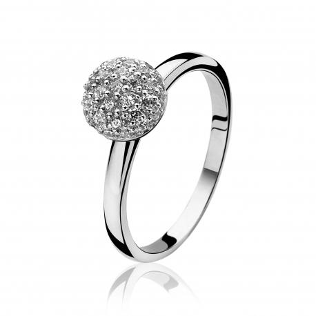Zinzi ezüst gyűrű,cirkóniával kirakott  gömb alakú fejrésszel