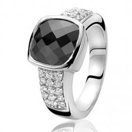 Zinzi ezüst gyűrű, fekete, szögletes központi kővel