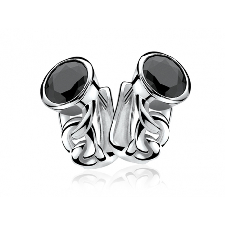 Zinzi ezüst fülbevaló, fekete cirkóniával