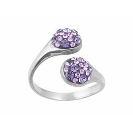 Ezüst állítható méretű gyűrű Swarovski kristályokkal.