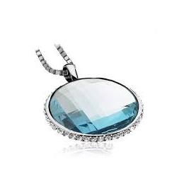 Zinti ezüst medál, nagy kék cirkóniával