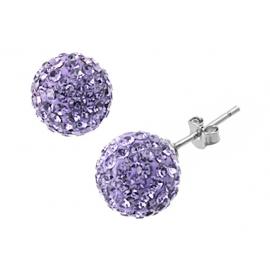 8mm-es lila színű, gömb alakú fülbevaló Swarovski kristályokkal.