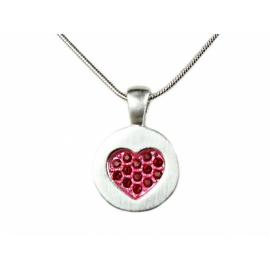 Ródiummal futtatott nikkelmentes, antiallergén ötvözetű nyaklánc, Swarovski kristályokkal foglalt szív alakú kerek medállal