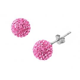 10mm-es rózsaszín színű, gömb alakú fülbevaló Swarovski kristályokkal.