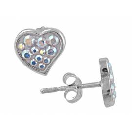 Ezüst szív alakú fülbevaló Swarovski kristályokkal kirakva.
