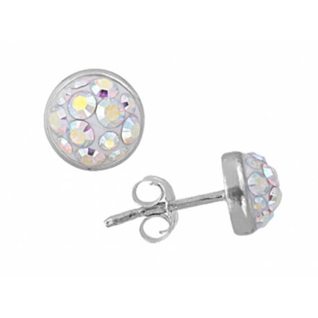 Ezüst félgömb bedugós fülbevaló Swarovski kristályokkal kirakva.