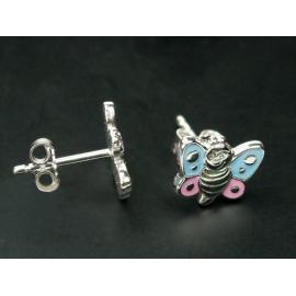 Pillangó alakú ezüst fülbevaló. A pillangó speciális ékszerfestékkel van megfestve.