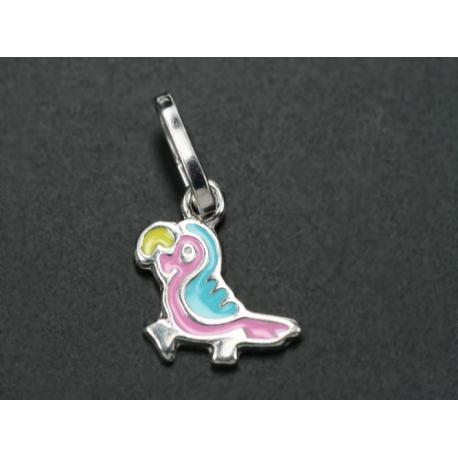 Papagáj alakú ezüst medál. A papagáj speciális ékszerfestékkel van megfestve.